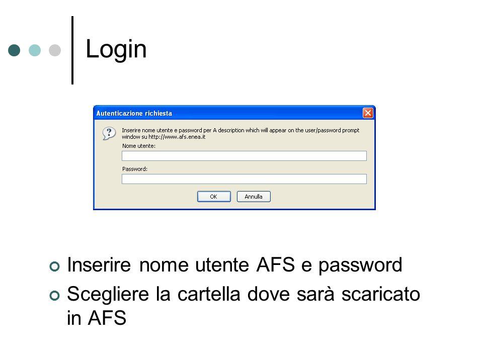 Login Inserire nome utente AFS e password Scegliere la cartella dove sarà scaricato in AFS
