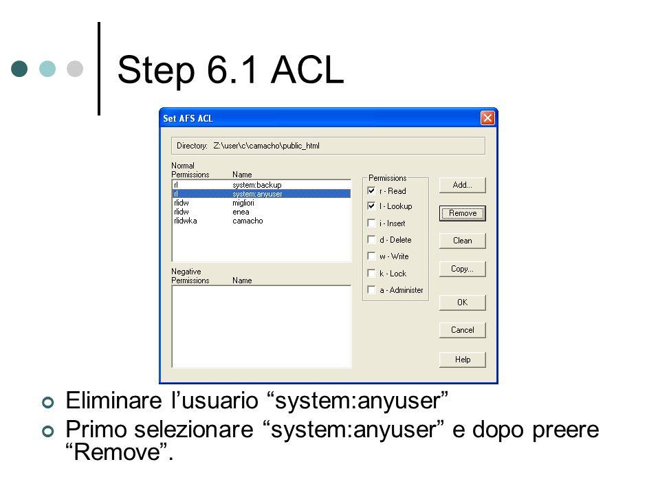 Step 6.1 ACL Eliminare lusuario system:anyuser Primo selezionare system:anyuser e dopo preere Remove.