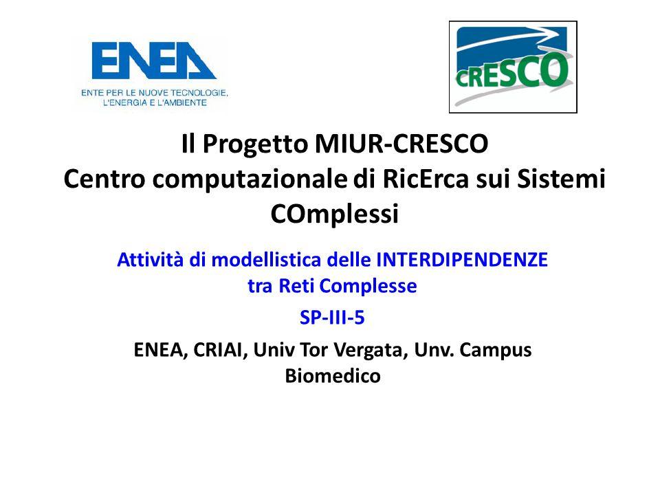 Il Progetto MIUR-CRESCO Centro computazionale di RicErca sui Sistemi COmplessi Attività di modellistica delle INTERDIPENDENZE tra Reti Complesse SP-III-5 ENEA, CRIAI, Univ Tor Vergata, Unv.