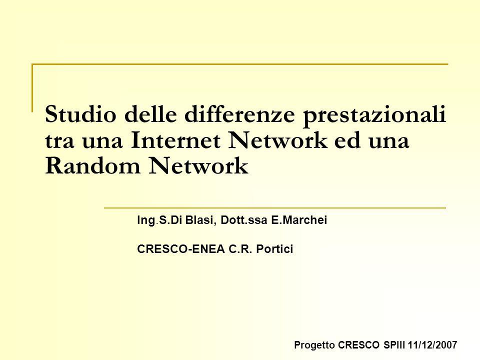 Studio delle differenze prestazionali tra una Internet Network ed una Random Network Progetto CRESCO SPIII 11/12/2007 Ing.S.Di Blasi, Dott.ssa E.Marchei CRESCO-ENEA C.R.