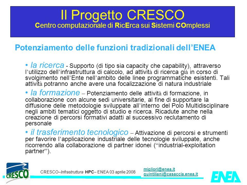 CRESCO – Kick-off meeting LA II – 23 maggio 2006 CRESCO–Infrastruttura HPC– ENEA 03 aprile 2008 migliori@enea.it quintiliani@casaccia.enea.it Potenzia