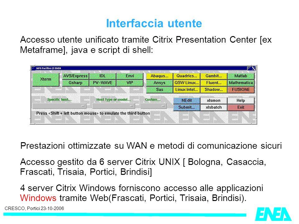 CRESCO, Portici 23-10-2006 Interfaccia utente Accesso utente unificato tramite Citrix Presentation Center [ex Metaframe], java e script di shell: Prestazioni ottimizzate su WAN e metodi di comunicazione sicuri Accesso gestito da 6 server Citrix UNIX [ Bologna, Casaccia, Frascati, Trisaia, Portici, Brindisi] 4 server Citrix Windows forniscono accesso alle applicazioni Windows tramite Web(Frascati, Portici, Trisaia, Brindisi).