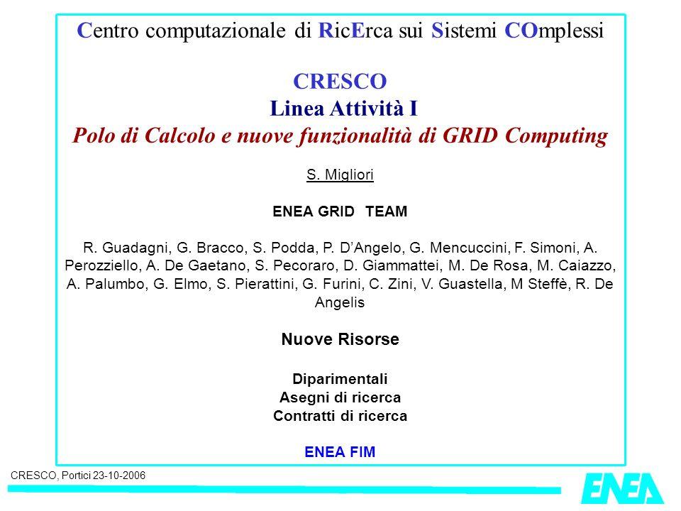 CRESCO, Portici 23-10-2006 Centro computazionale di RicErca sui Sistemi COmplessi CRESCO Linea Attività I Polo di Calcolo e nuove funzionalità di GRID Computing S.