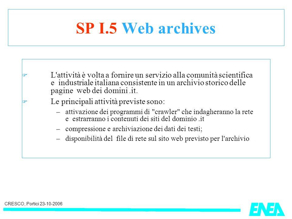 CRESCO, Portici 23-10-2006 SP I.5 Web archives L attività è volta a fornire un servizio alla comunità scientifica e industriale italiana consistente in un archivio storico delle pagine web dei domini.it.