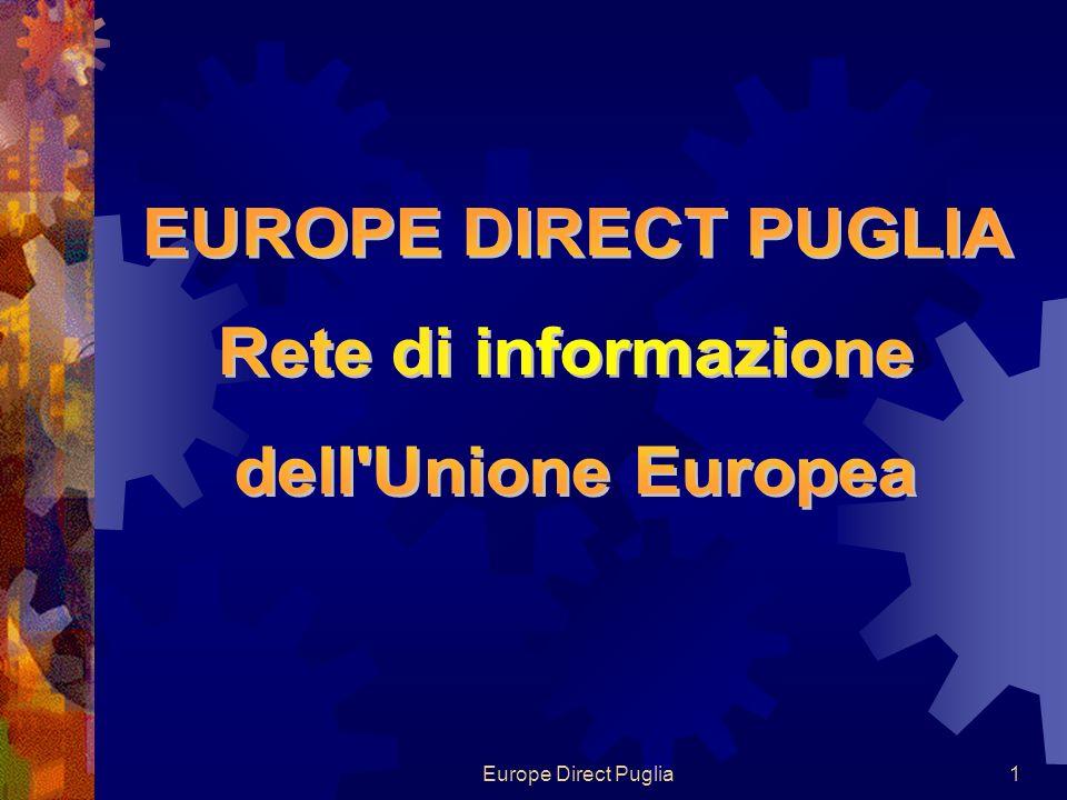 Europe Direct Puglia32 Giovani e studenti Ploteus ec.europa.eu/ploteus Europass europass.cedefop.europa.eu Euroguidance euroguidance.net ECTS ec.europa.eu/education/lifelong- learning-policy/doc48_en.htm NARIC enic-naric.net Eurydice eacea.ec.europa.eu/education/eurydice Youth ec.europa.eu/youth/index_en.htm Eurodesk eurodesk.it