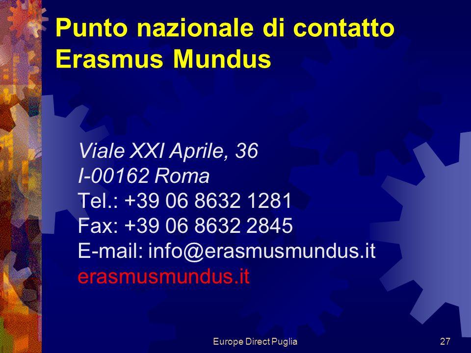 Europe Direct Puglia27 Punto nazionale di contatto Erasmus Mundus Viale XXI Aprile, 36 I-00162 Roma Tel.: +39 06 8632 1281 Fax: +39 06 8632 2845 E-mail: info@erasmusmundus.it erasmusmundus.it