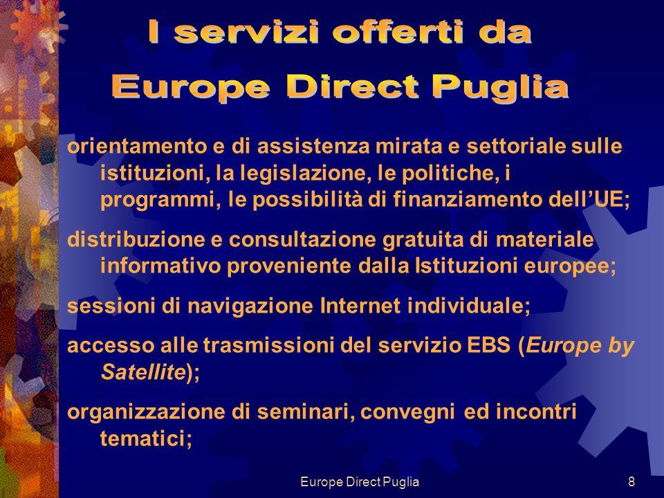 Europe Direct Puglia19 La tua Europa Informa le persone che si recano in altri paesi dellUE sui loro diritti e opportunità nellUE e le consiglia sul modo per far valere tali diritti.