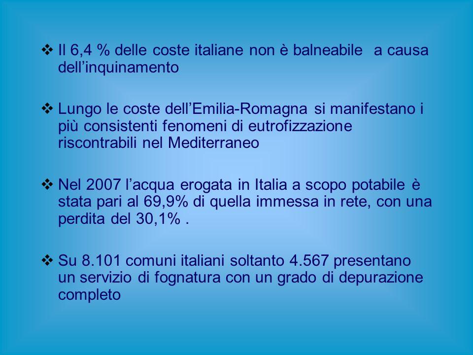 Il 6,4 % delle coste italiane non è balneabile a causa dellinquinamento Lungo le coste dellEmilia-Romagna si manifestano i più consistenti fenomeni di eutrofizzazione riscontrabili nel Mediterraneo Nel 2007 lacqua erogata in Italia a scopo potabile è stata pari al 69,9% di quella immessa in rete, con una perdita del 30,1%.