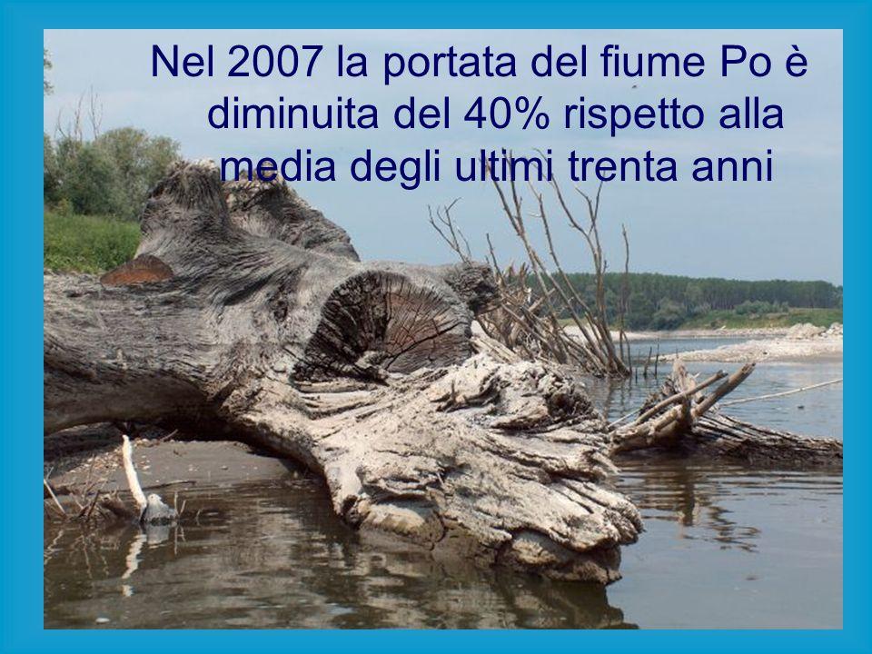 Nel 2007 la portata del fiume Po è diminuita del 40% rispetto alla media degli ultimi trenta anni