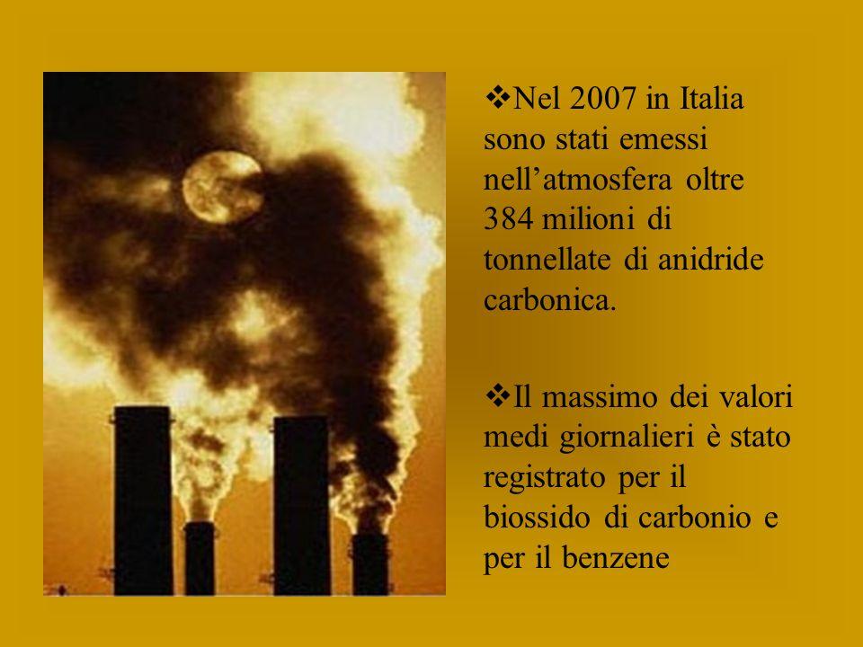 Nel 2007 in Italia sono stati emessi nellatmosfera oltre 384 milioni di tonnellate di anidride carbonica.