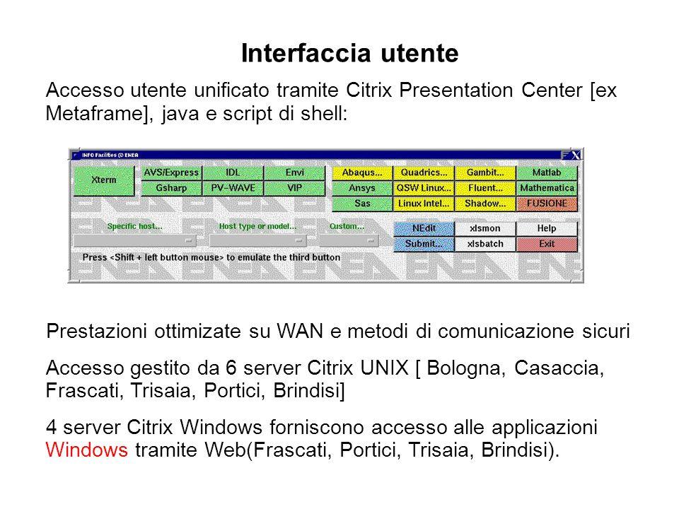 Interfaccia utente Accesso utente unificato tramite Citrix Presentation Center [ex Metaframe], java e script di shell: Prestazioni ottimizate su WAN e