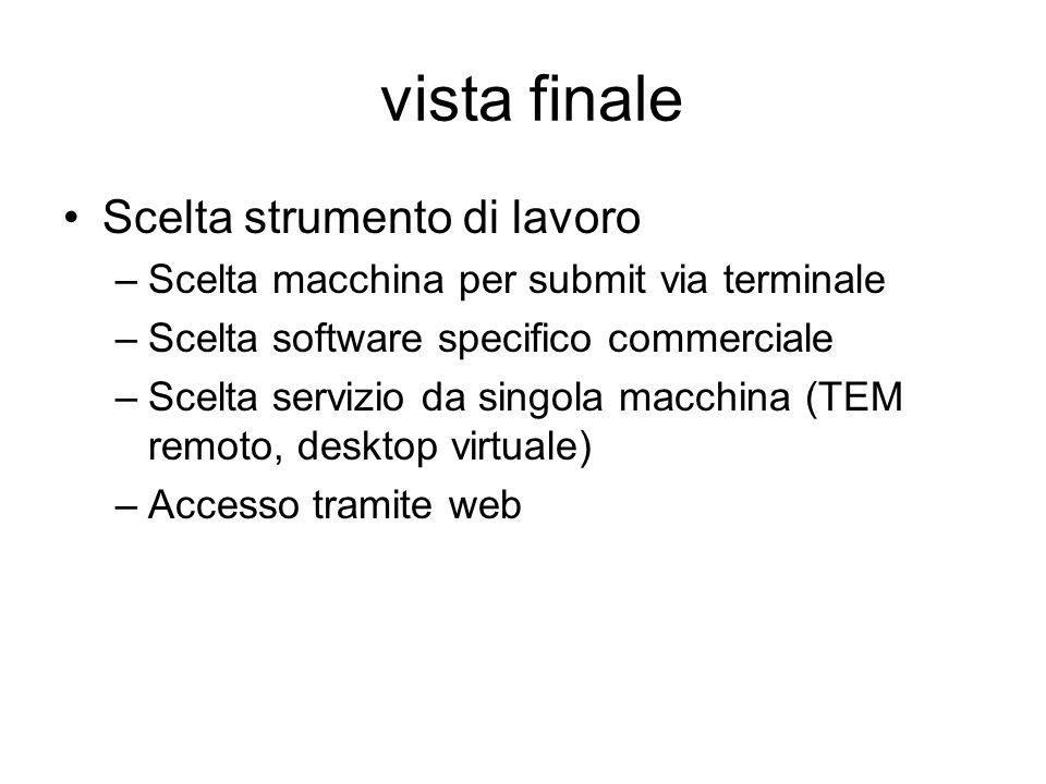vista finale Scelta strumento di lavoro –Scelta macchina per submit via terminale –Scelta software specifico commerciale –Scelta servizio da singola m