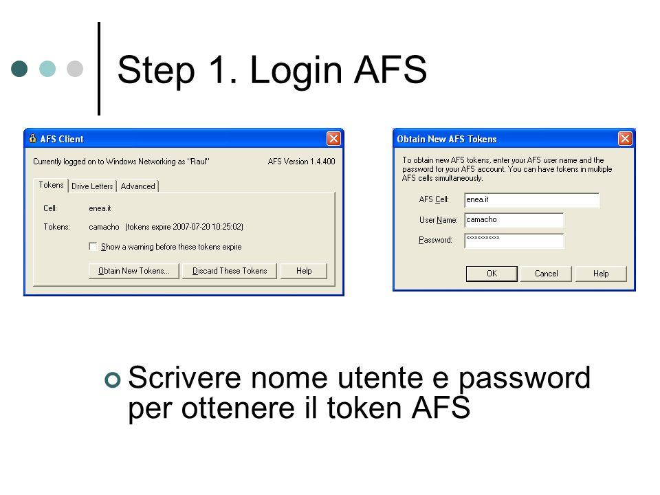 Step 1. Login AFS Scrivere nome utente e password per ottenere il token AFS