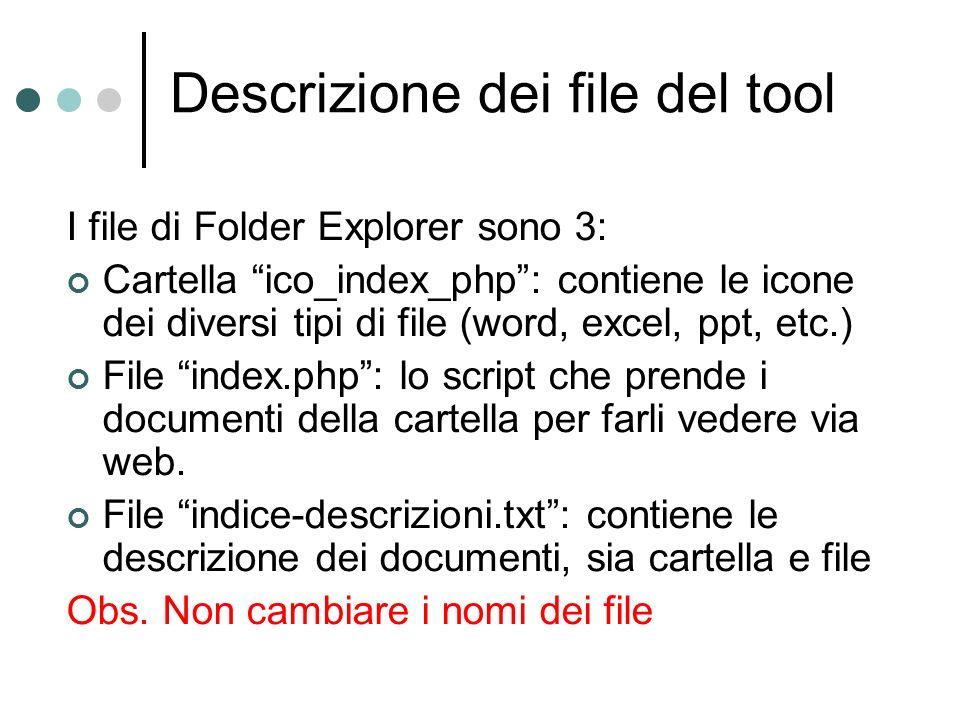 Descrizione dei file del tool I file di Folder Explorer sono 3: Cartella ico_index_php: contiene le icone dei diversi tipi di file (word, excel, ppt, etc.) File index.php: lo script che prende i documenti della cartella per farli vedere via web.