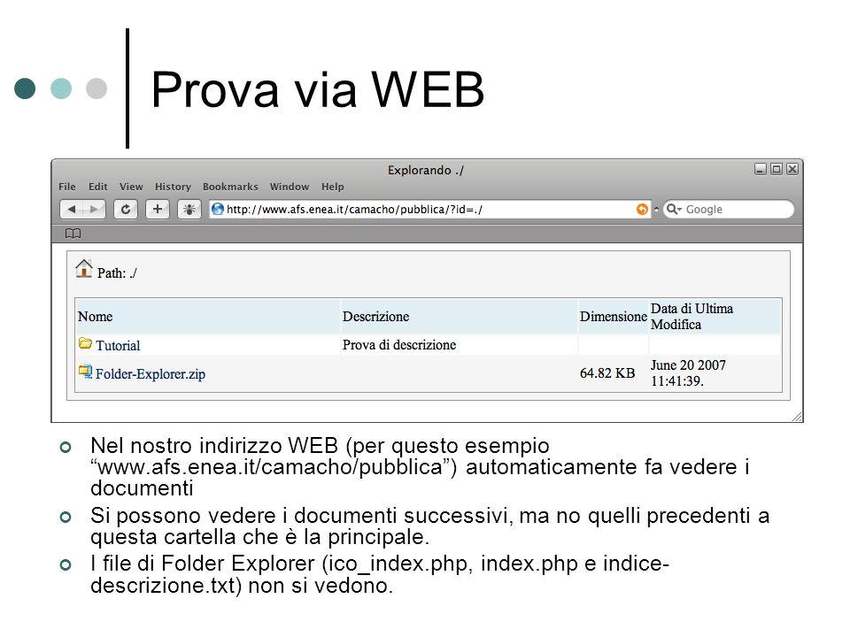 Prova via WEB Nel nostro indirizzo WEB (per questo esempio www.afs.enea.it/camacho/pubblica) automaticamente fa vedere i documenti Si possono vedere i documenti successivi, ma no quelli precedenti a questa cartella che è la principale.