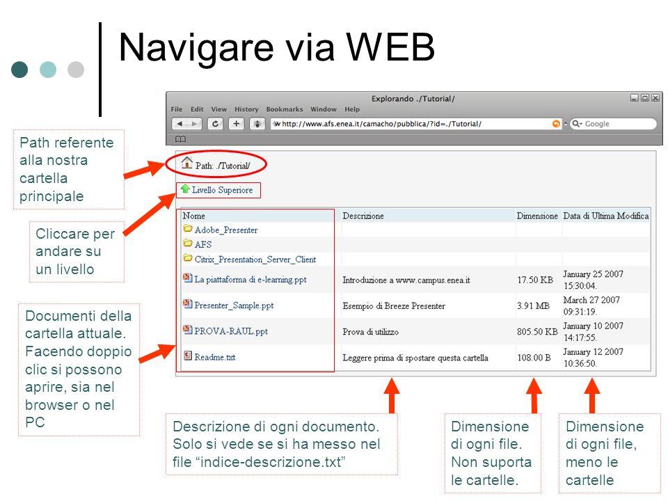 Navigare via WEB Path referente alla nostra cartella principale Cliccare per andare su un livello Documenti della cartella attuale.