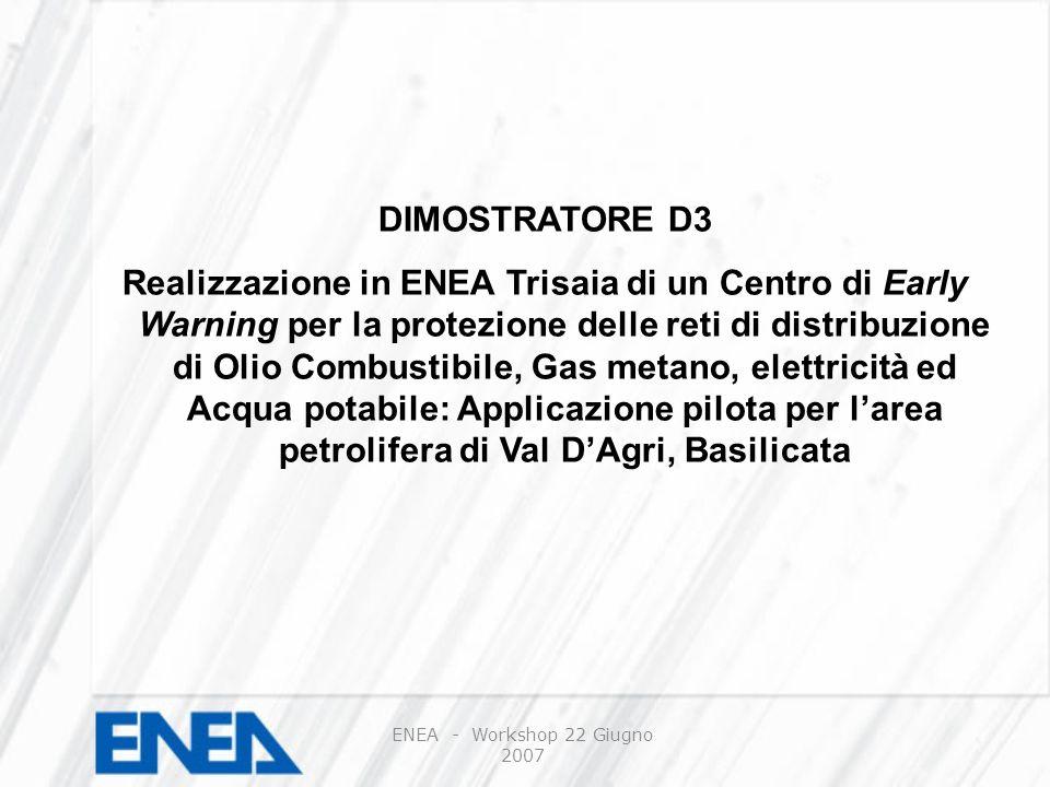 DIMOSTRATORE D3 Realizzazione in ENEA Trisaia di un Centro di Early Warning per la protezione delle reti di distribuzione di Olio Combustibile, Gas metano, elettricità ed Acqua potabile: Applicazione pilota per larea petrolifera di Val DAgri, Basilicata ENEA - Workshop 22 Giugno 2007