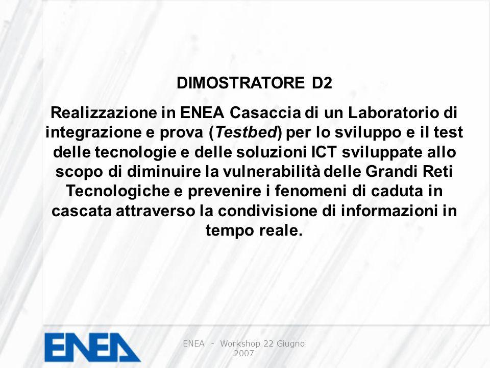 DIMOSTRATORE D2 Realizzazione in ENEA Casaccia di un Laboratorio di integrazione e prova (Testbed) per lo sviluppo e il test delle tecnologie e delle