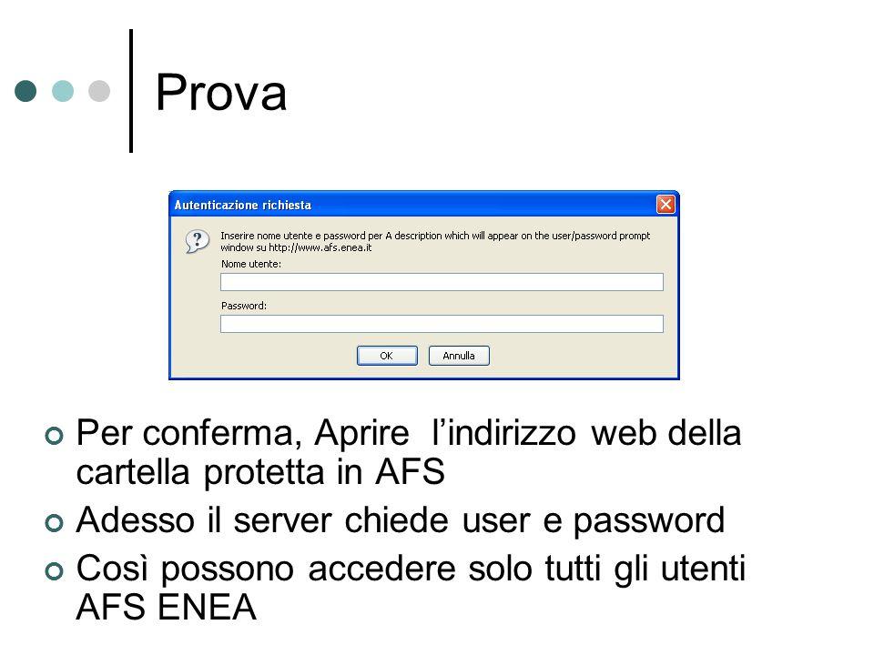 Prova Per conferma, Aprire lindirizzo web della cartella protetta in AFS Adesso il server chiede user e password Così possono accedere solo tutti gli utenti AFS ENEA
