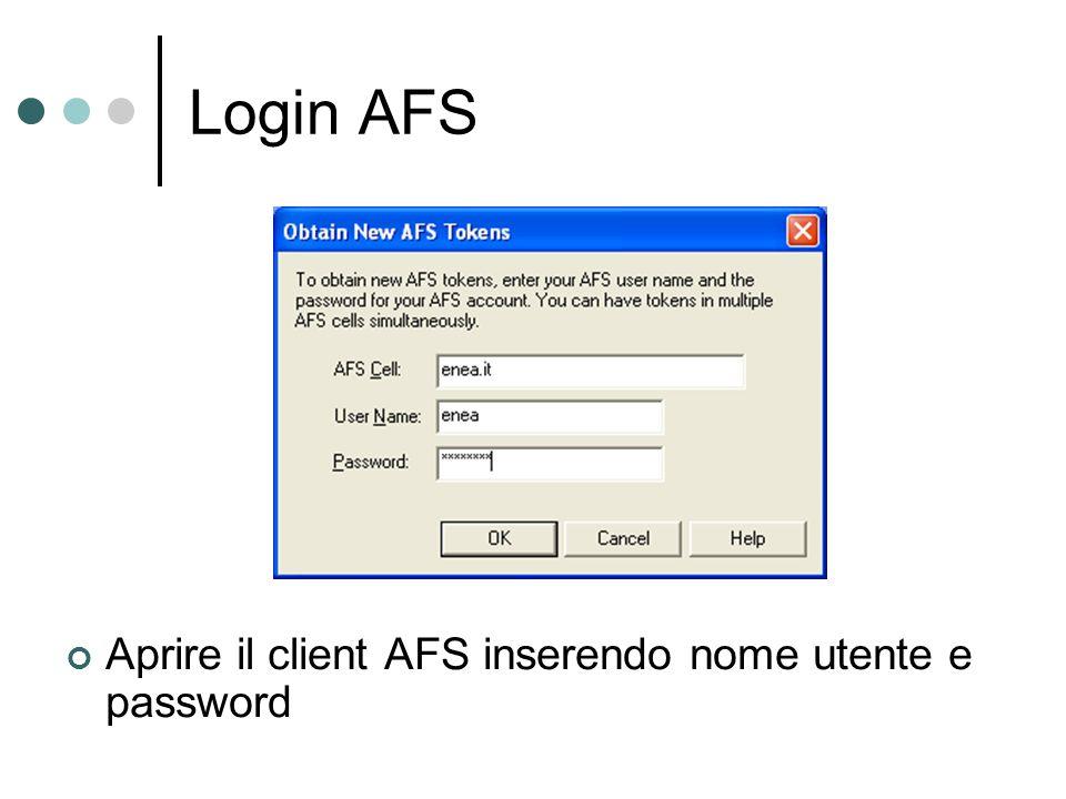 Login AFS Aprire il client AFS inserendo nome utente e password