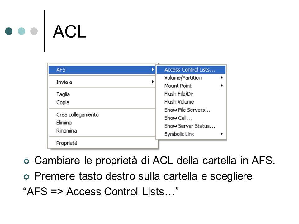ACL Cambiare le proprietà di ACL della cartella in AFS.