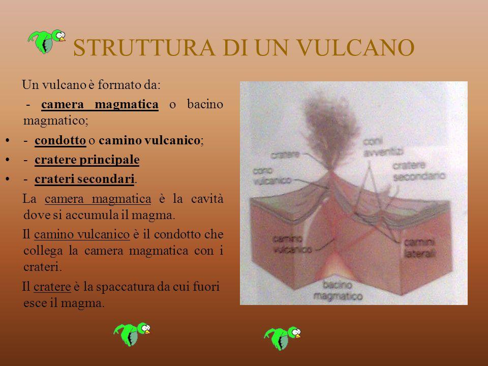 STRUTTURA DI UN VULCANO Un vulcano è formato da: - camera magmatica o bacino magmatico; - condotto o camino vulcanico; - cratere principale - crateri secondari.