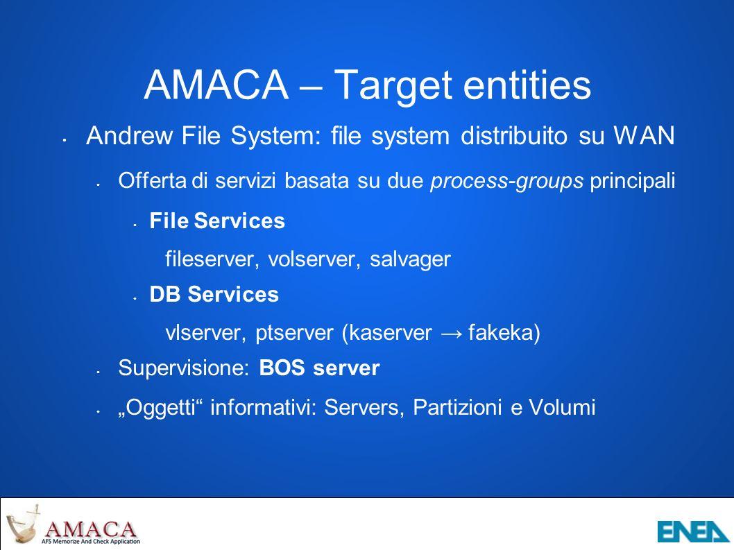 AMACA – Target entities Andrew File System: file system distribuito su WAN Offerta di servizi basata su due process-groups principali File Services fileserver, volserver, salvager DB Services vlserver, ptserver (kaserver fakeka) Supervisione: BOS server Oggetti informativi: Servers, Partizioni e Volumi