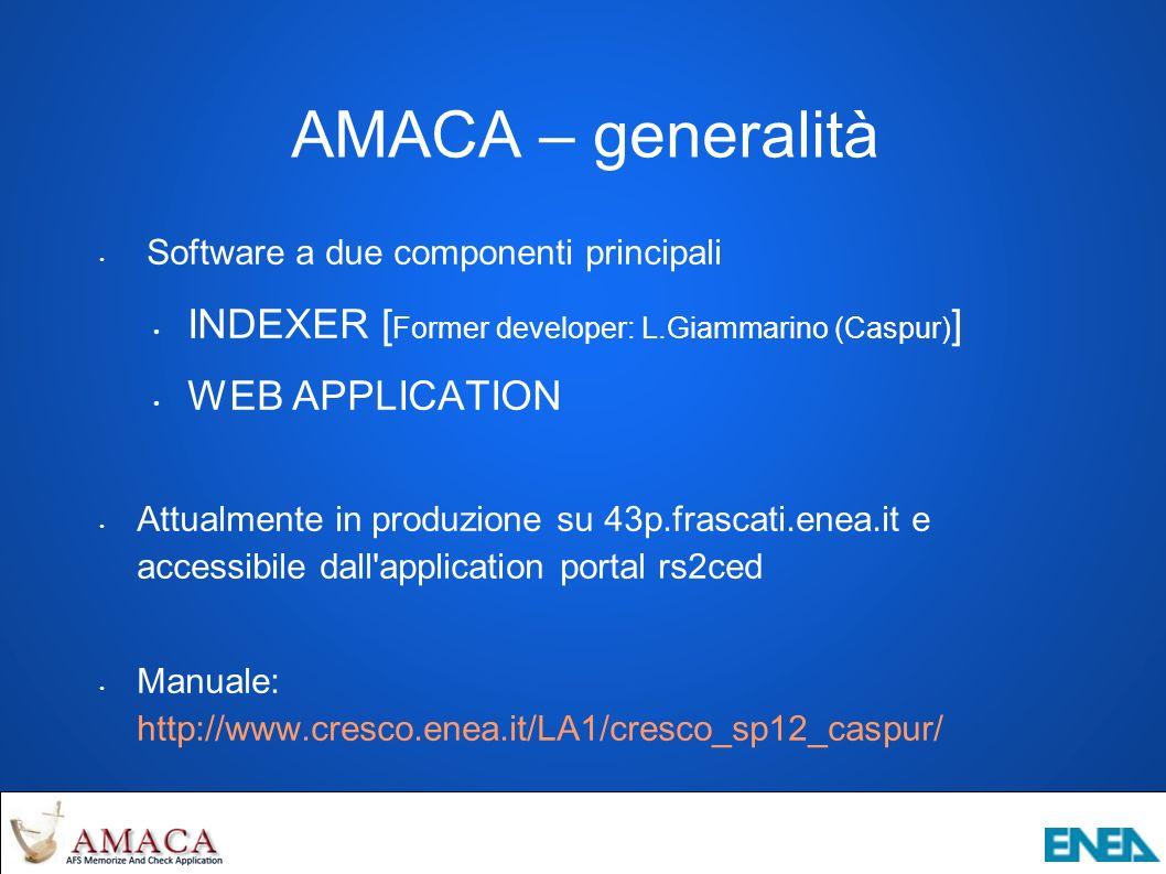 AMACA – stato dell arte Features già implementate in alpha-version Indicizzazione di celle esterne Features da poco integrate e in fase di test Analisi temporale con parametri custom Analisi partizioni/volumi on demand Features in fase di progettazione Mount points