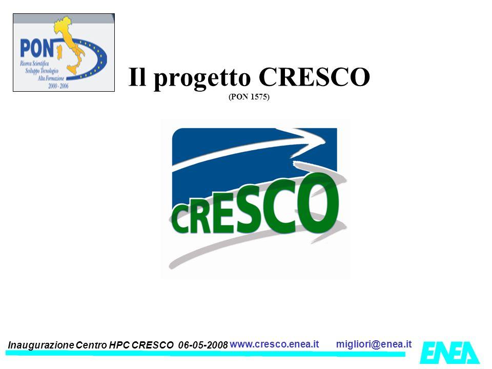 Inaugurazione Centro HPC CRESCO 06-05-2008 migliori@enea.itwww.cresco.enea.it Il progetto CRESCO (PON 1575)