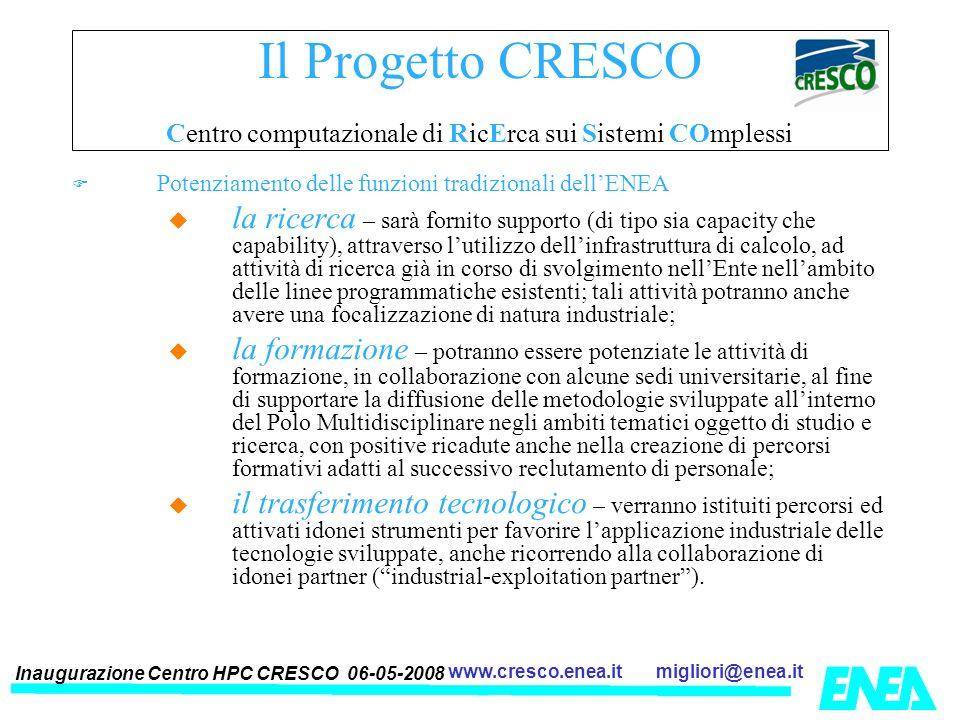Inaugurazione Centro HPC CRESCO 06-05-2008 migliori@enea.itwww.cresco.enea.it Il Progetto CRESCO Centro computazionale di RicErca sui Sistemi COmpless