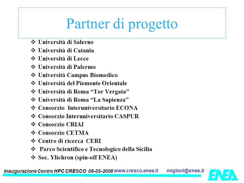 Inaugurazione Centro HPC CRESCO 06-05-2008 migliori@enea.itwww.cresco.enea.it Partner di progetto Università di Salerno Università di Catania Universi