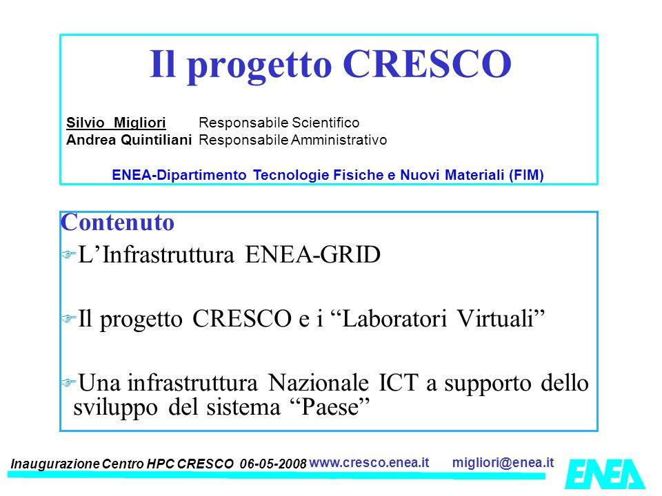 Inaugurazione Centro HPC CRESCO 06-05-2008 migliori@enea.itwww.cresco.enea.it Contenuto LInfrastruttura ENEA-GRID Il progetto CRESCO e i Laboratori Vi