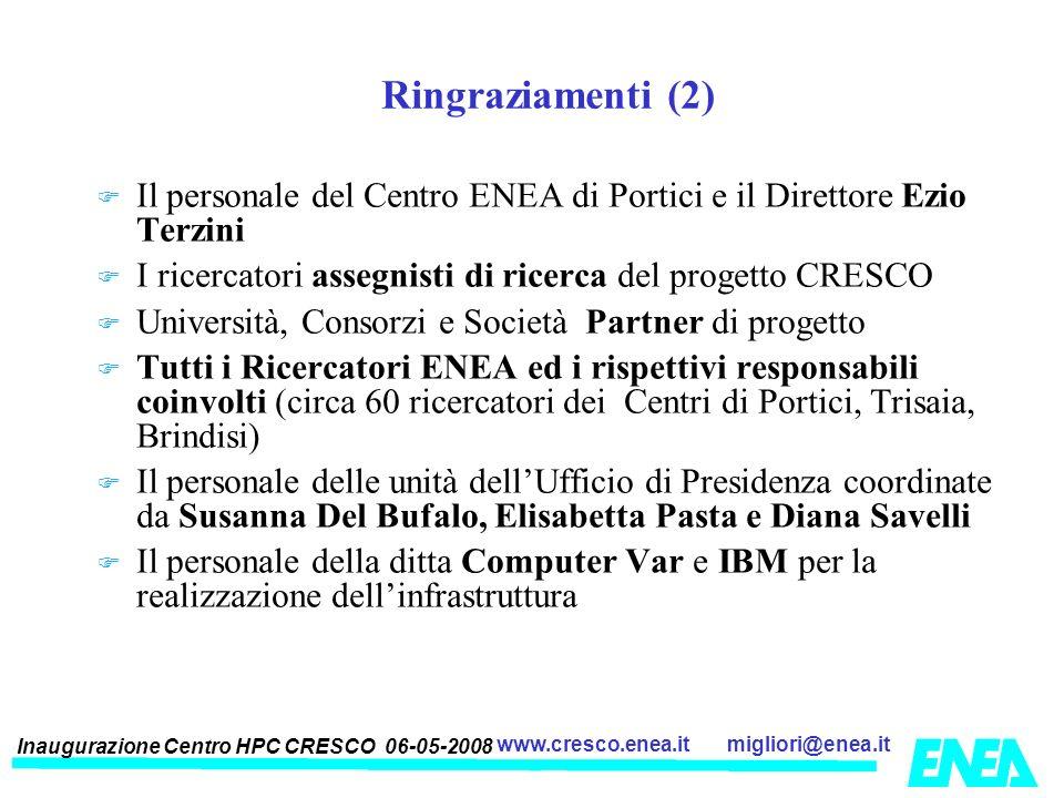 Inaugurazione Centro HPC CRESCO 06-05-2008 migliori@enea.itwww.cresco.enea.it Ringraziamenti (2) Il personale del Centro ENEA di Portici e il Direttor