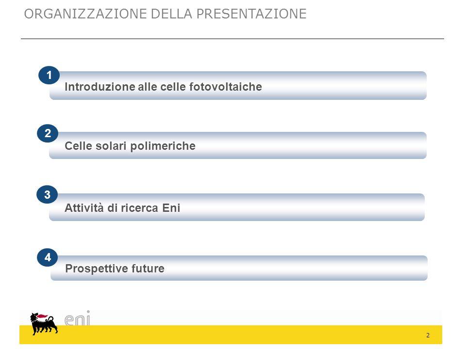 2 Introduzione alle celle fotovoltaiche 2 1 3 Attività di ricerca Eni 4 Prospettive future Celle solari polimeriche ORGANIZZAZIONE DELLA PRESENTAZIONE