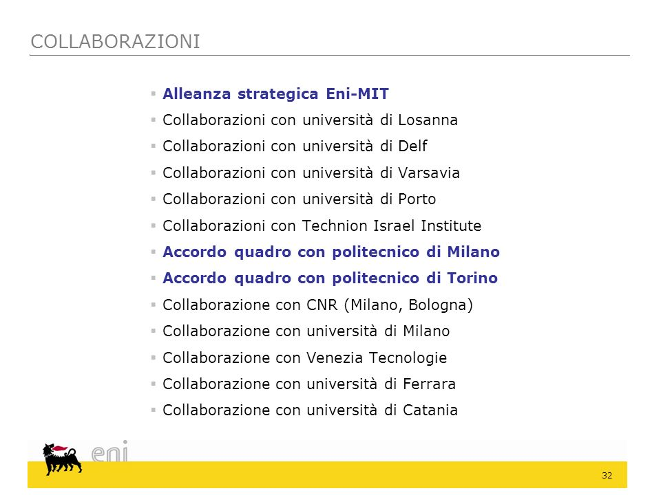 32 Alleanza strategica Eni-MIT Collaborazioni con università di Losanna Collaborazioni con università di Delf Collaborazioni con università di Varsavi