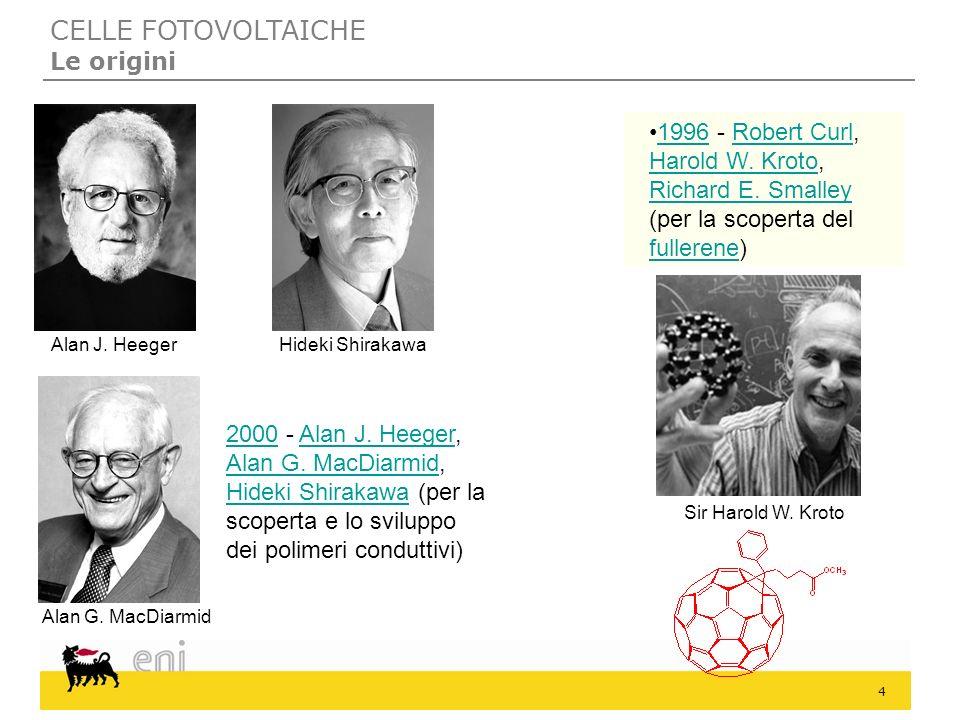 4 Alan J. Heeger Alan G. MacDiarmid Hideki Shirakawa Sir Harold W. Kroto 20002000 - Alan J. Heeger, Alan G. MacDiarmid, Hideki Shirakawa (per la scope