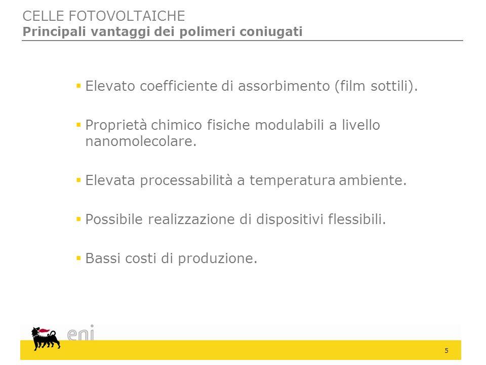 5 Elevato coefficiente di assorbimento (film sottili). Proprietà chimico fisiche modulabili a livello nanomolecolare. Elevata processabilità a tempera
