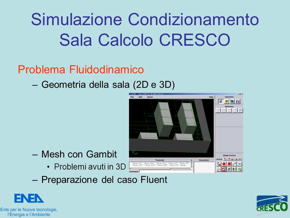 Problema Fluidodinamico –Geometria della sala (2D e 3D) –Mesh con Gambit Problemi avuti in 3D –Preparazione del caso Fluent Simulazione Condizionament