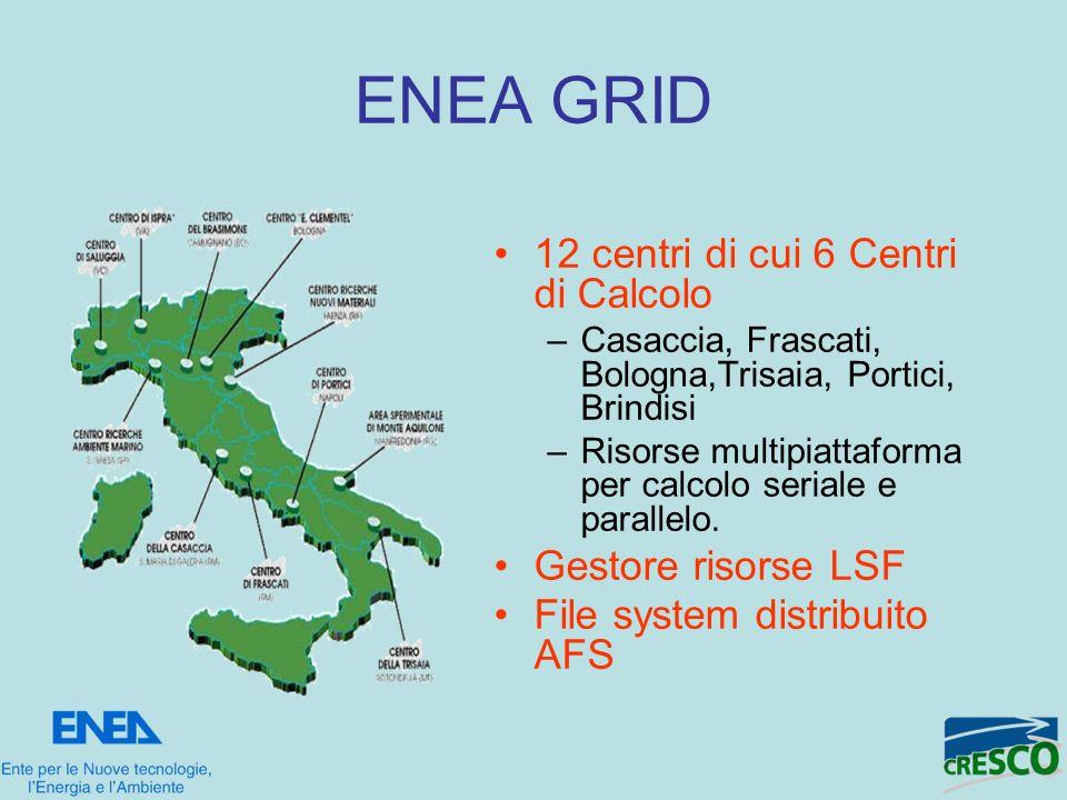 ENEA GRID 12 centri di cui 6 Centri di Calcolo –Casaccia, Frascati, Bologna,Trisaia, Portici, Brindisi –Risorse multipiattaforma per calcolo seriale e