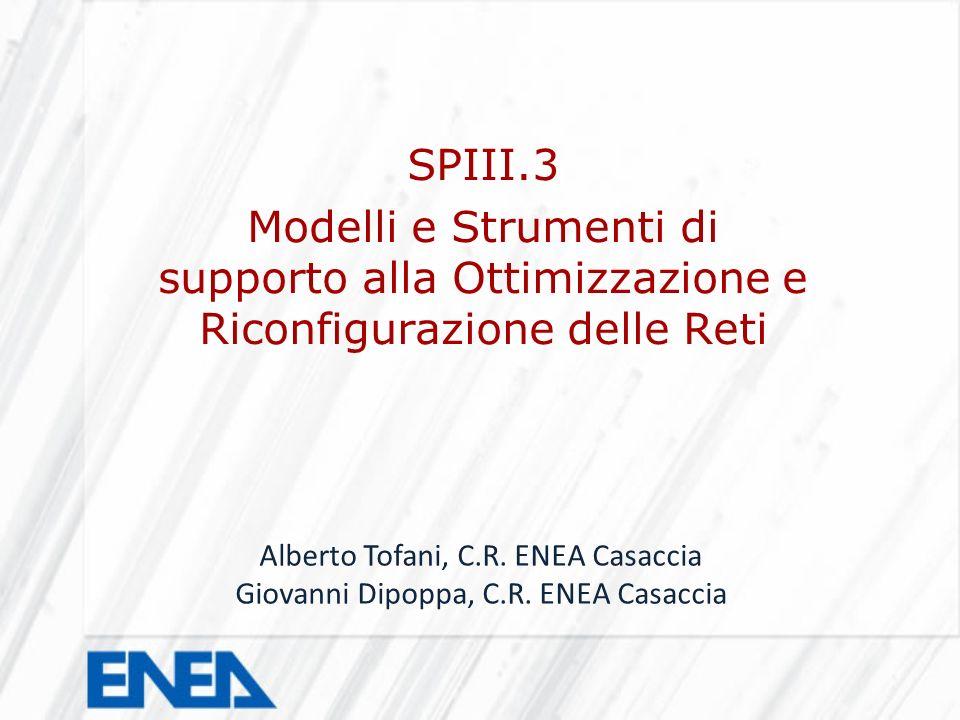 SPIII.3 Modelli e Strumenti di supporto alla Ottimizzazione e Riconfigurazione delle Reti Alberto Tofani, C.R. ENEA Casaccia Giovanni Dipoppa, C.R. EN
