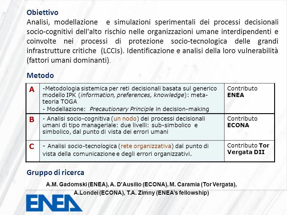 Obiettivo Analisi, modellazione e simulazioni sperimentali dei processi decisionali socio-cognitivi dell'alto rischio nelle organizzazioni umane inter