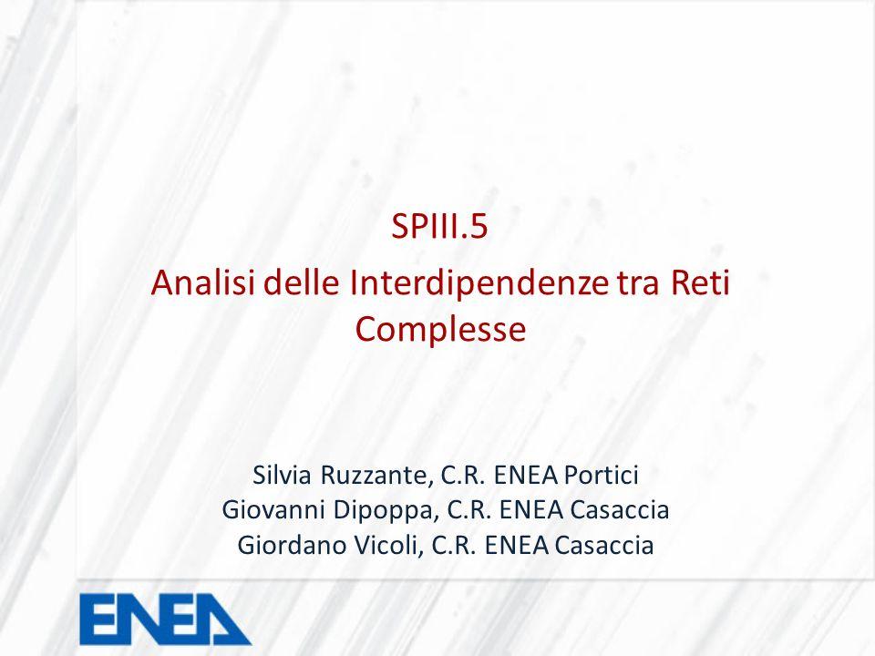 SPIII.5 Analisi delle Interdipendenze tra Reti Complesse Silvia Ruzzante, C.R. ENEA Portici Giovanni Dipoppa, C.R. ENEA Casaccia Giordano Vicoli, C.R.
