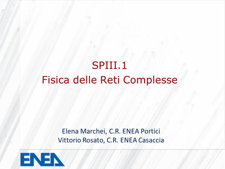 SPIII.1 Fisica delle Reti Complesse Elena Marchei, C.R. ENEA Portici Vittorio Rosato, C.R. ENEA Casaccia