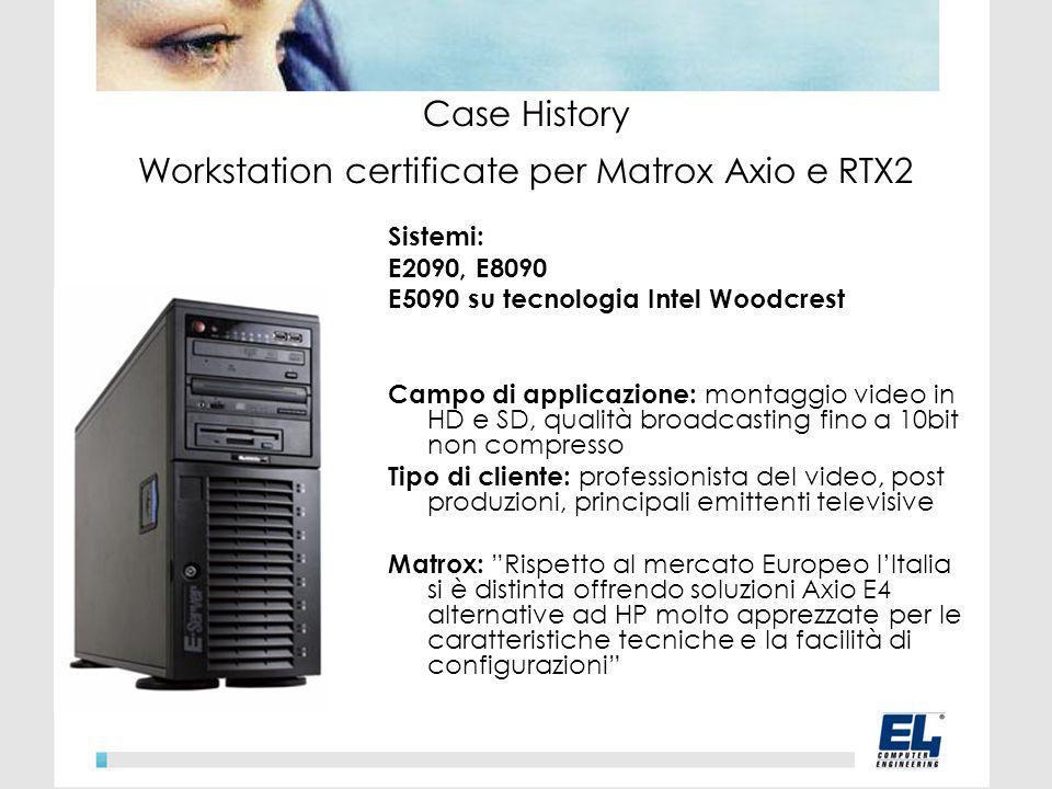 Sistemi: E2090, E8090 E5090 su tecnologia Intel Woodcrest Campo di applicazione: montaggio video in HD e SD, qualità broadcasting fino a 10bit non compresso Tipo di cliente: professionista del video, post produzioni, principali emittenti televisive Matrox: Rispetto al mercato Europeo lItalia si è distinta offrendo soluzioni Axio E4 alternative ad HP molto apprezzate per le caratteristiche tecniche e la facilità di configurazioni Case History Workstation certificate per Matrox Axio e RTX2