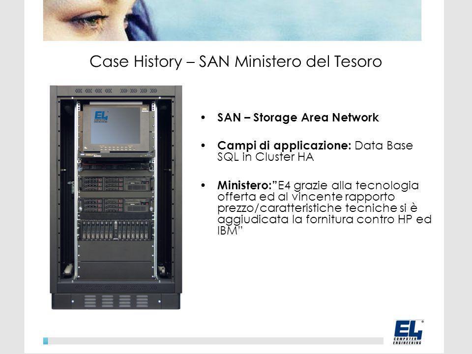 SAN – Storage Area Network Campi di applicazione: Data Base SQL in Cluster HA Ministero: E4 grazie alla tecnologia offerta ed al vincente rapporto prezzo/caratteristiche tecniche si è aggiudicata la fornitura contro HP ed IBM Case History – SAN Ministero del Tesoro