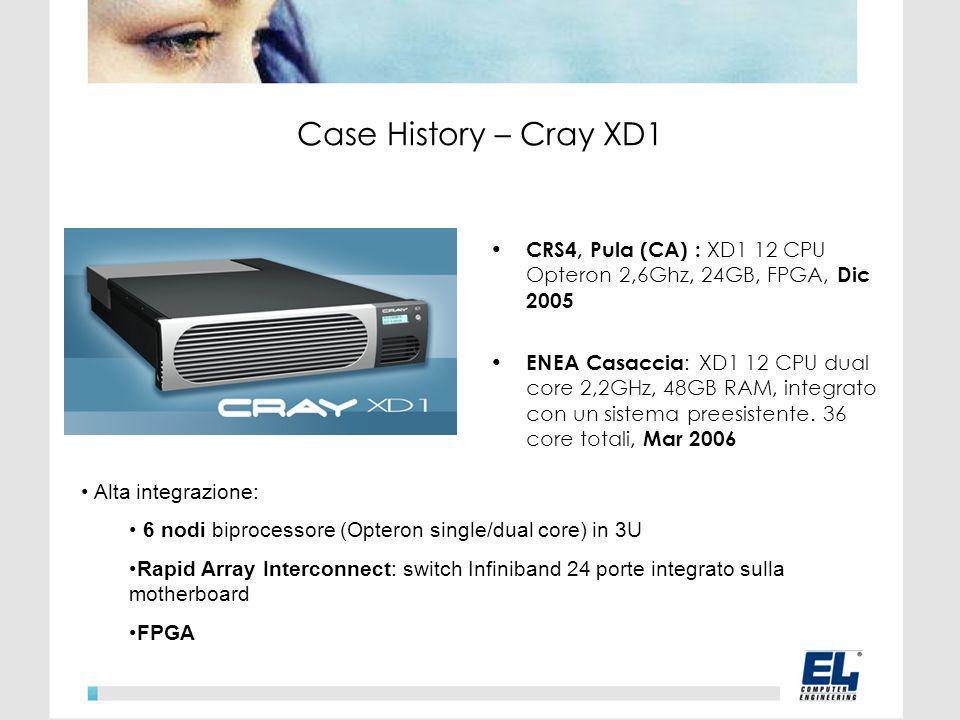 CRS4, Pula (CA) : XD1 12 CPU Opteron 2,6Ghz, 24GB, FPGA, Dic 2005 ENEA Casaccia : XD1 12 CPU dual core 2,2GHz, 48GB RAM, integrato con un sistema preesistente.