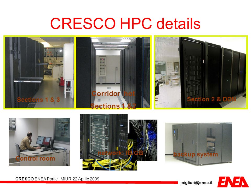 migliori@enea.it CRESCO ENEA Portici: MIUR 22 Aprile 2009 CRESCO HPC details Sections 1 & 3 Section 2 & DDN Control room backup system network: IB/GB
