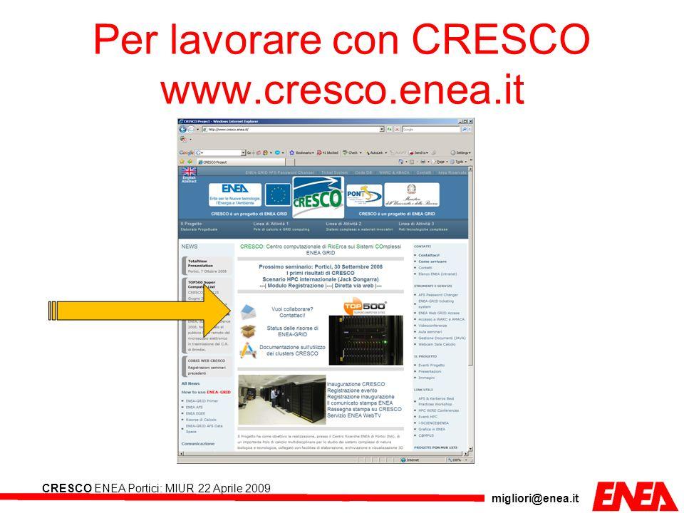 migliori@enea.it CRESCO ENEA Portici: MIUR 22 Aprile 2009 Per lavorare con CRESCO www.cresco.enea.it