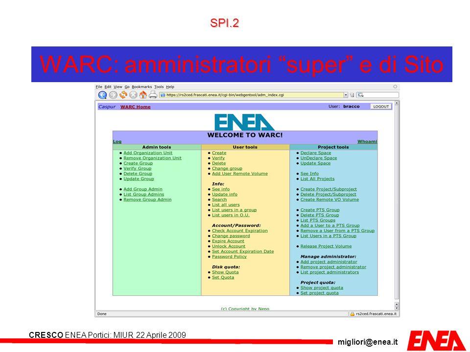 migliori@enea.it CRESCO ENEA Portici: MIUR 22 Aprile 2009 WARC: amministratori super e di Sito SPI.2