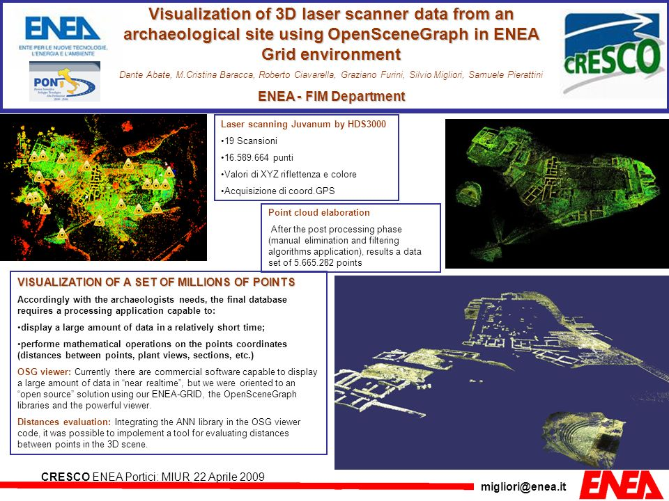 migliori@enea.it CRESCO ENEA Portici: MIUR 22 Aprile 2009 Visualization of 3D laser scanner data from an archaeological site using OpenSceneGraph in E